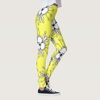 vibrant yellow floral abstract leggings