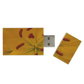 Vibrant Yellow Lily Wood USB 2.0 Flash Drive