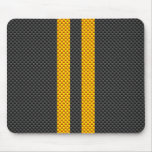 Vibrant Yellow Racing Stripes Carbon Fibre Style Mouse Pad