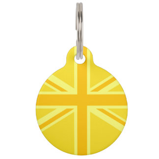Vibrant Yellow Union Jack Pet Tag