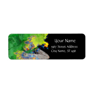 VIBRATIONS OF MATTER green yellow black Return Address Label