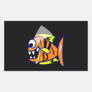 VICIOUS CARTOON FUNNY PIRANHA FISH SEA LOGO GRAPHI