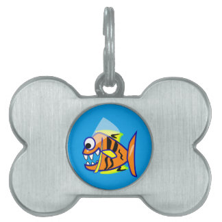 VICIOUS CARTOON FUNNY PIRANHA FISH SEA LOGO GRAPHI PET TAG