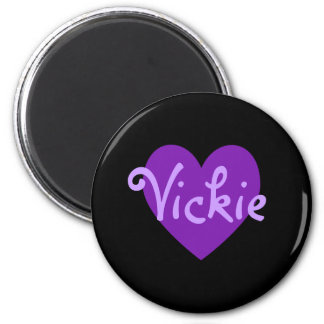 Vickie in Purple 2 Inch Round Magnet