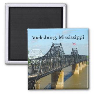 Vicksburg Mississippi River Bridge Square Magnet