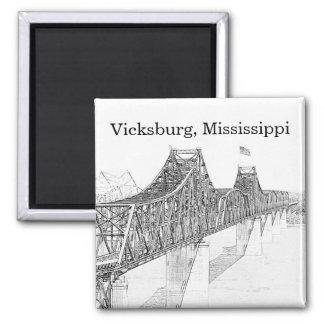 Vicksburg MS River Bridge Black & White Sketch Square Magnet