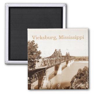 Vicksburg MS River Bridge Sepia Copper Tone Magnet