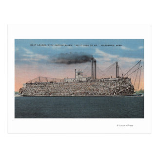 Vicksburg, MS - View of Boat with Cotton Onboard Postcard