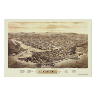 Victoria, BC, Canada Panoramic Map - 1878 Poster