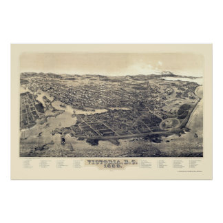 Victoria, BC, Canada Panoramic Map - 1889 Poster