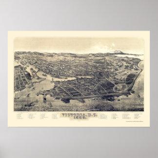 Victoria, BC, Canada Panoramic Map - 1889 Poster