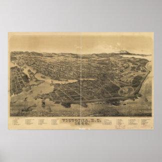 Victoria British Columbia 1889 Antique Panorama Poster