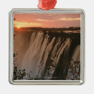 Victoria Falls with sun on horizon, Victoria Metal Ornament