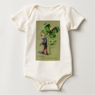 Victoria Four Leaf Clover Pig Swine Baby Bodysuit