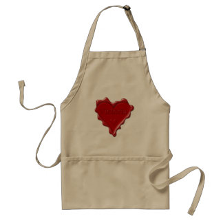 Victoria. Red heart wax seal with name Victoria Standard Apron
