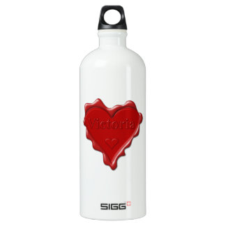 Victoria. Red heart wax seal with name Victoria Water Bottle