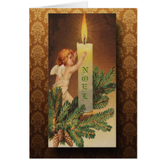 Victorian Angel and Candlelight Christmas Card
