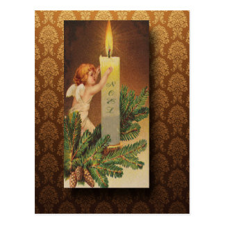 Victorian Angel and Candlelight Christmas Postcard