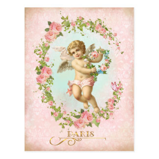 Victorian Angel Pink Rose Frame Postcard