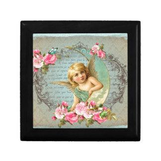 Victorian Angel vintage blue rose pink antique Gift Box