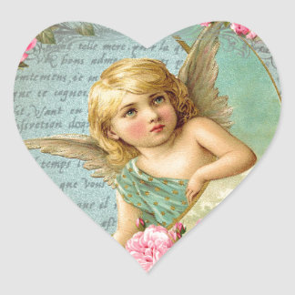 Victorian Angel vintage blue rose pink antique Heart Sticker