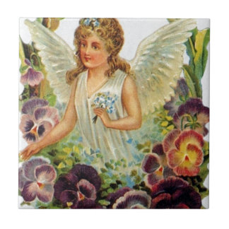 Victorian Angel with Flowers Tile