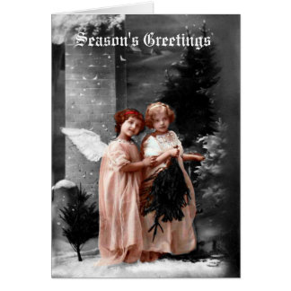 Victorian Angels Christmas Card, circa 1900 Card