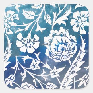 Victorian Arabesque, LADY CIARA - Blue & White Square Sticker