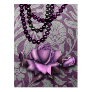 Victorian Arabesque, METALLIC ROSE - Mauve Postcard