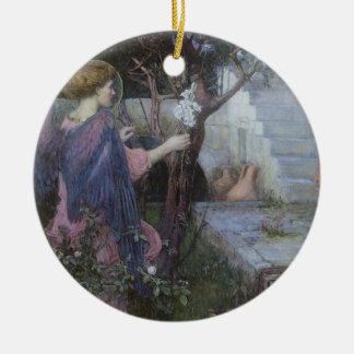 Victorian Art, Annunciation by JW Waterhouse Round Ceramic Ornament
