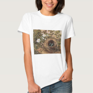 Victorian Art, Birds Nest and Dog Roses by JW Hill Tshirts