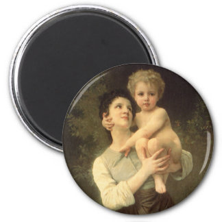 Victorian Art, Brother and Sister by Bouguereau 2 Inch Round Magnet