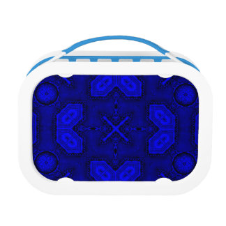 Victorian Art Deco Medieval Pattern bright blue Lunch Box