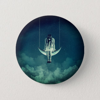 Victorian/art nouveau style girl on crescent moon 2 inch round button
