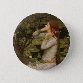 Victorian Art, Ophelia by the Pond by Waterhouse 2 Inch Round Button