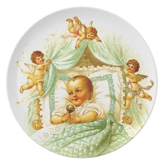 Victorian Baby Cherubs Shower Gift Wall Decor Plate