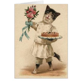 Victorian Baker Cat Congratulations & Best Wishes Card