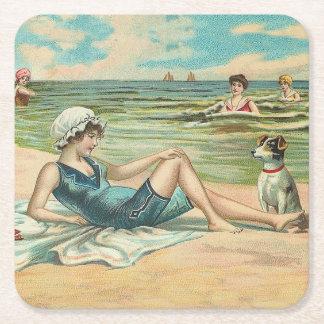 Victorian Beach Swimming Girl Square Paper Coaster