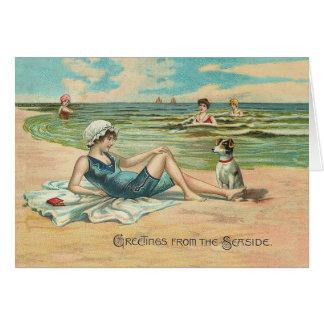 Victorian Beach Swimsuit Girl Card