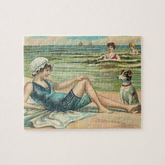 Victorian Beach Swimsuit Girl Jigsaw Puzzle