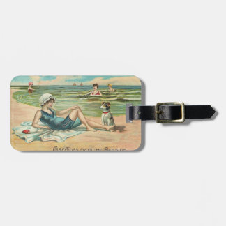 Victorian Beach Swimsuit Girl Luggage Tag