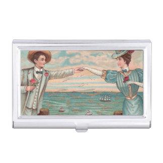 Victorian Beach Wedding Couple Business Card Holder