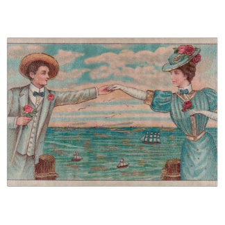 Victorian Beach Wedding Couple Cutting Board
