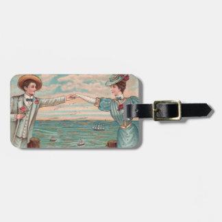 Victorian Beach Wedding Couple Luggage Tag