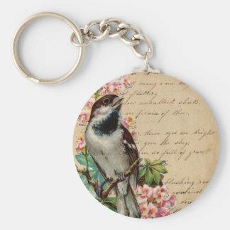 Victorian Bird Illustration 2 Basic Round Button Keychain