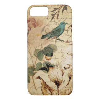 victorian bird Paris French Botanical Rose iPhone 8/7 Case