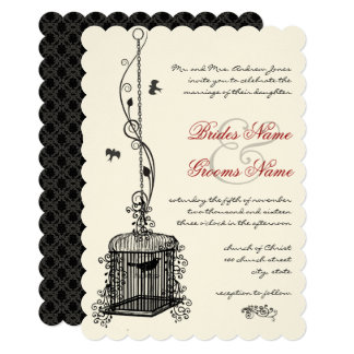 Victorian Birdcage Red Boho Wedding Invitations