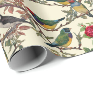 Victorian Birds and Roses Scrapbook Chintzy Retro Wrapping Paper