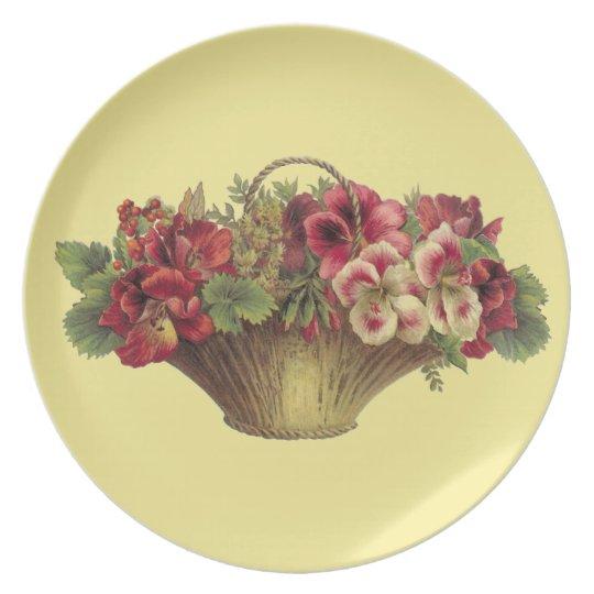 Victorian Blossom Basket Melamine Plate