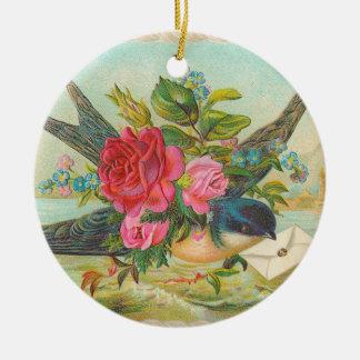 Victorian Blue Bird Christmas Ornament
